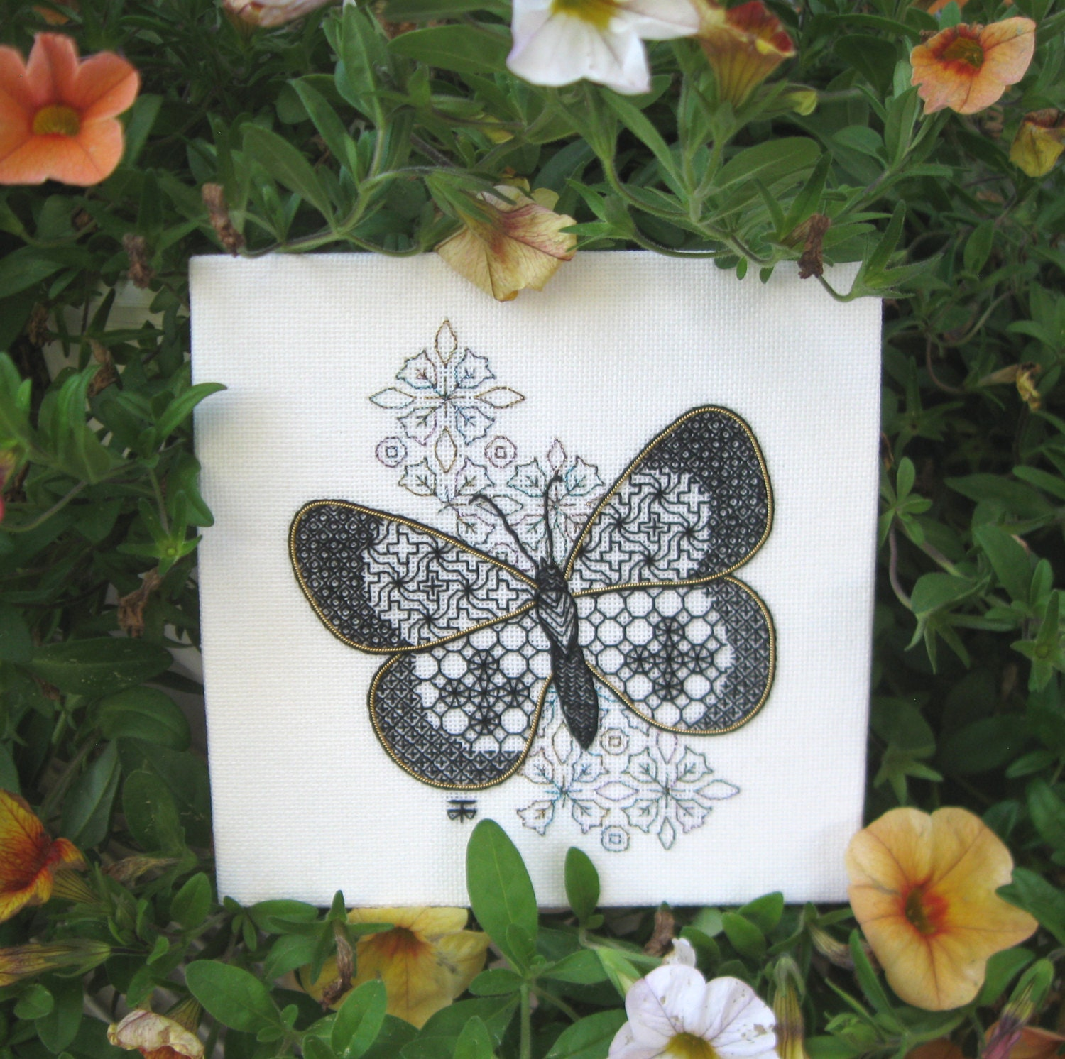 Beginners Hand Embroidery Kit Blackwork By