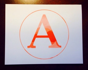 monogram notecard initil personalized gift teacher bridesmaid CLAIRE