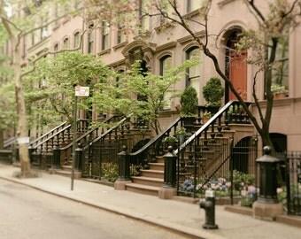 New York Photography, Greenwich Village, West Village, NYC, neighborhood, Brownstones, Manhattan, Urban, Architecture, Wall Art