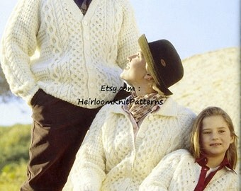 Aran Knitting Pattern PDF for Traditional Family Aran Cardigans, Ladies, Mens, Boys, Girls sizes, 26''-48'', instant download - 526