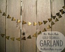 GOLD triangle garland - gold triangle bunting, gold geometric garland, gold bunting, gold party decor, gold wedding decor, gold pennant