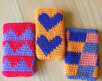 PHONE COVERS/ Cell phone cozies/ Smart phone covers/ Homemade tapestry crochet