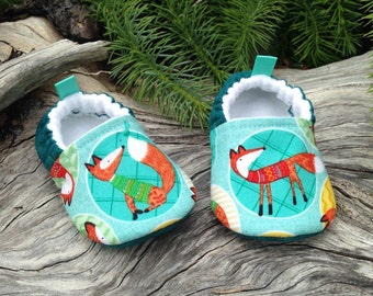 Fox Baby Shoes, Soft Sole Baby Shoes, Teal Baby Booties,Toddler slippers,Cloth Baby Shoes, Baby Shower Gift, Baby Gift