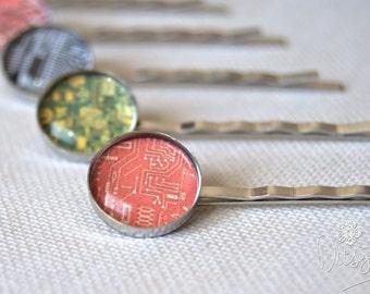 Hair clips - set of 5 circuit board, geek chic hair clips