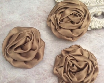gold rosettes, 3 inch rosette, satin rolled rosette, silk rosette, rolled flower, rosette, headband flowers, satin flowers, flower supplies,
