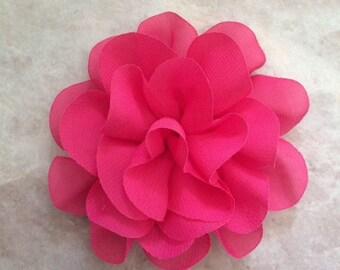 Chiffon flower, large flower, hot pink, flower, lace flower, flower puff, flower supplies, DIY supplies,