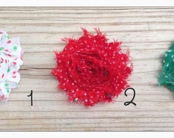 Polka Dot Print Shabby Flower Hair Clip