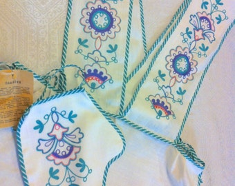 Vtg NEW Russian Authentic Folk Heavily Hand Embroidery Aqua Blue Green Decorative Apron Hot Mitt