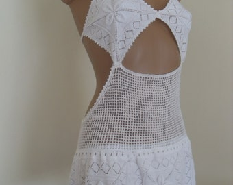 Sexi white crochet dress ,hand made lace