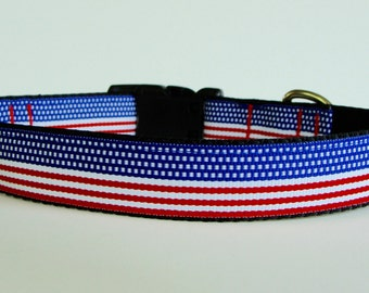 Patriotic American Flag Dog Collar - READY TO SHIP!