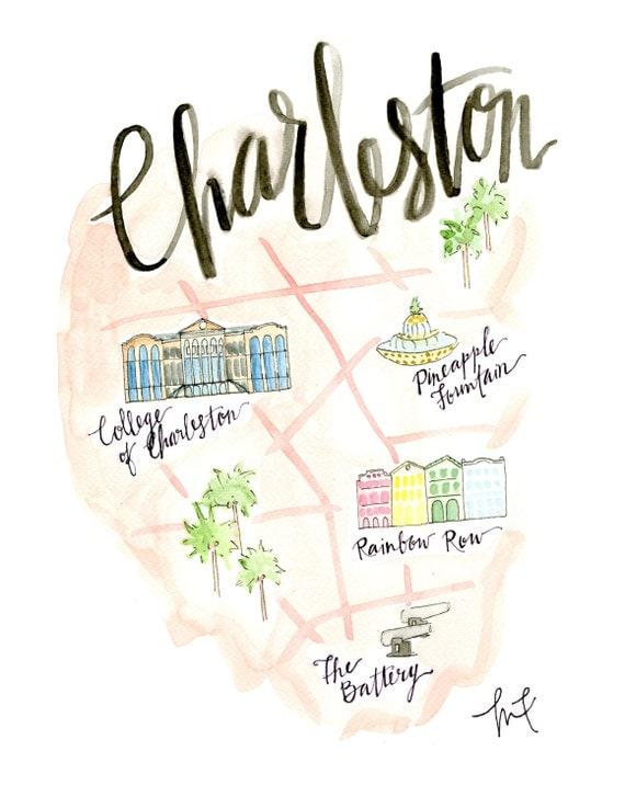 Items Similar To Charleston Map Watercolor  Charleston