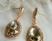 1  Sale  Earring Champagne C Z Platinum plated Crystal AAA