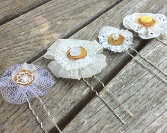 Ivory and yellow daisies, set of 4 bridal hairpins, bridesmaids hair pins, flower girls hairpins, rustic wedding flowers, country wedding
