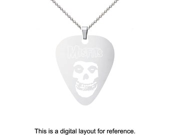 Misfits Stainless Steel Guitar Pick Charm Necklace