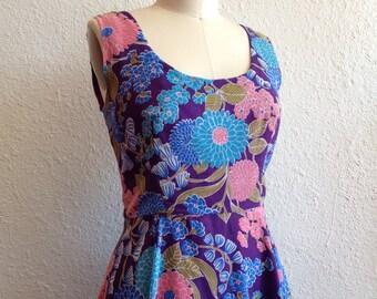 1960s purple floral sun dress