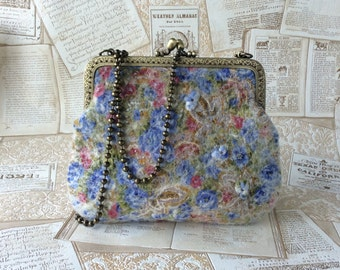 Felt bag 'Meadow flowers' / Nuno felting bag
