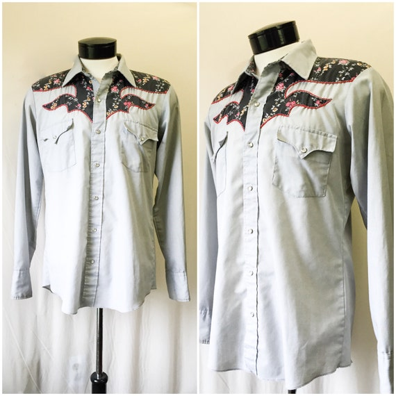 Mens Vintage Western Yoke Grey And Floral Button Up By Karman