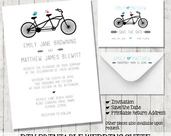 Modern DIY Wedding Invitation Printable | Lovebirds Bicycle | Save the Date | Return Address | Wedding Package | Tandem Bike | Arrows