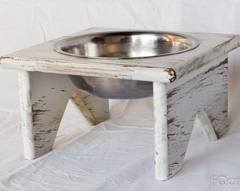 Wooden Elevated Pet Feeder - One Raised Bowl