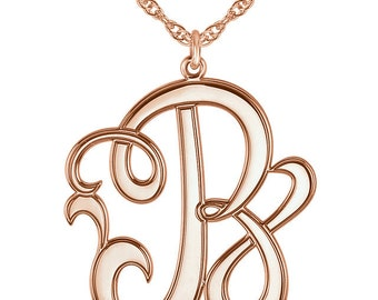 Elegant Solid 14k Rose Gold 22mm Single Letter Script Cursive Monogram Necklace All Letters A-Z, 16 or 18 Inches Available