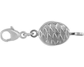 Sterling Silver Demika™ Oval Decorative Magnetic Clasp with Lobster Clasp, Design with Decorative Magnetic Clasp