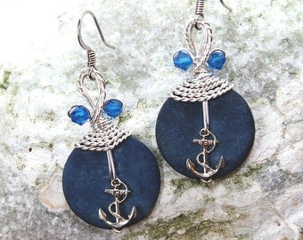 Anchor Jewelry, Navy Blue Earrings, Nautical Jewelry, Sea Theme, Ocean Jewelry, Boating Gifts, Sailing, Anchor Earrings, Indigo Blue