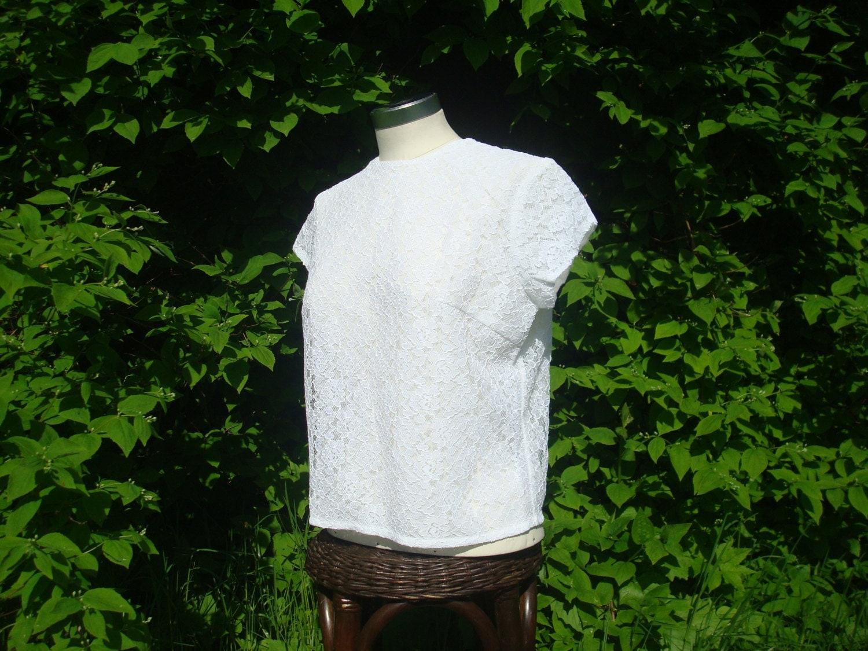 chemisier en dentelle vintage blouse en dentelle blanche. Black Bedroom Furniture Sets. Home Design Ideas