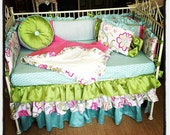 CUSTOM Crib Baby Bedding Set - Made To Order - Spring Floral