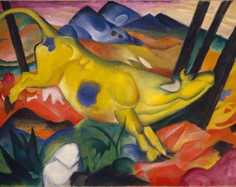 The Yellow Cow by Franz Marc Home Decor Wall Decor Giclee Art Print Poster A4 A3 A2 Large Print FLAT RATE SHIPPING