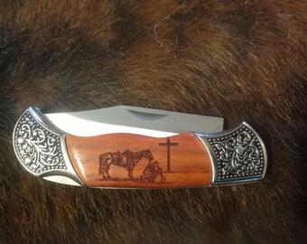 Laser Engraved Praying Cowboy Rosewood Pocket Knife