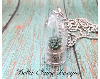 Real Terrarium Necklace Live Plant Necklace Air Plant Necklace Succulant Plant Necklace Real wearable plant jewelry wearable plant