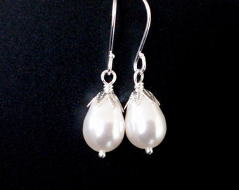 White pearl drop earrings, teardrop pearls, bright silver bead caps, classic simple pearl earrings, white pearl jewelry