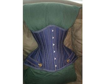 Custom steel boned Denim corset with gold stitching