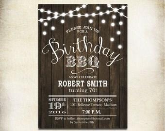 Birthday BBQ Invitation / 70th / Any Age / Wood Printable Rustic / Digital Invite