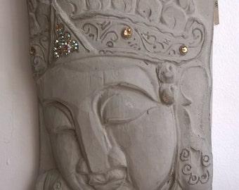 Stone Buddha Head Wall Plaque, Diamond Encrusted Wall Art, Garden Art,  Indoor /