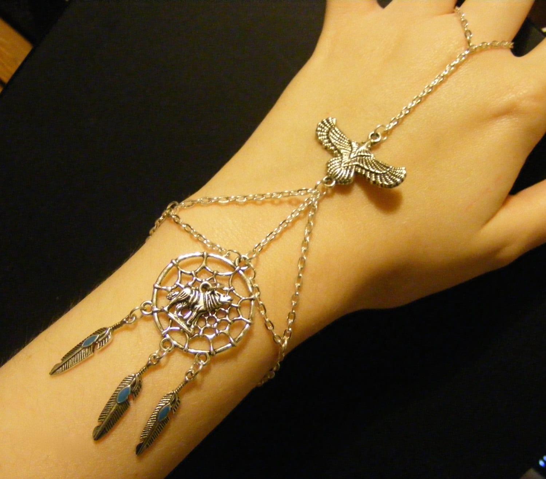 Wolf Charm Bracelet: Dreamcatcher Bracelet Dreamcatcher Jewelry Wolf Bracelet