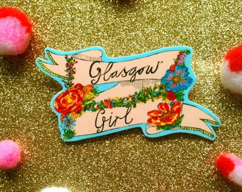 GLASGOW GIRL Illustrated Brooch, Floral Cute Girly Pin Badge, Quirky Scottish Gift