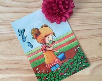 A Girl in Summer Illustration Postcard