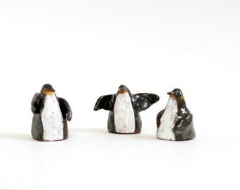Penguin Ceramic Miniature-Penguin Totem-Ready To Ship