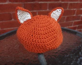 Crochet Fox Hat Adult Size - Handmade