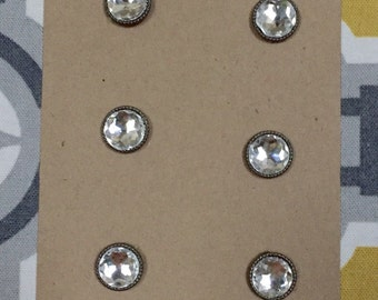 Crystal on brass magnets set of 6