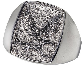"Sterling Silver  ""EAGLE"" Ring Men's Ring (R747)"