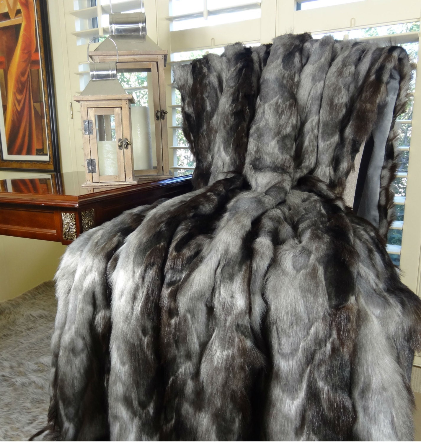 Back In Stock Exotic Gray Fox Faux Fur Throw Blanket