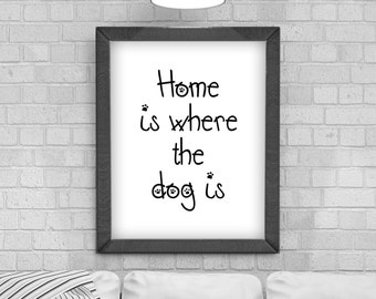 Digital Download 'Home is where the dog is' Typography Poster, Printable Art, Instant Download, Wall Prints, Digital Art, typography quote,