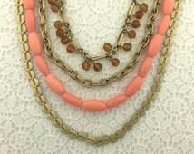 Vintage TRIFARI Multi Strand Peach Gold Necklace Vintage Necklace Vintage Jewelry Signed Jewelry Vintage Bead Estate Jewelry Trifari Necklac