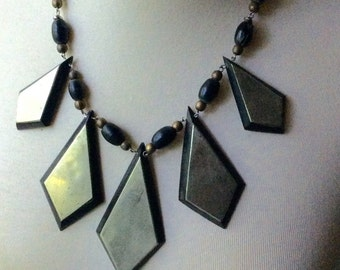 Bohemian Ebony Wood and Brass Necklace