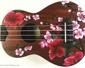 YOUR Ukulele Handpainted with Hibiscus & Cherry Blossoms