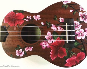 YOUR Ukulele Handpainted with Hibiscus & Cherry Blossoms  (Ukulele not included)