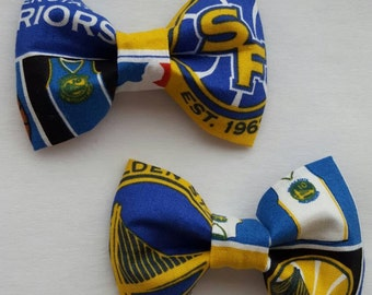 Golden State Warriors inspired small hair bows (perfect for pigtails)