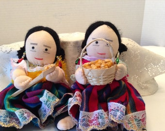 Handmade Folklore Dolls  Traditional Costumes Soft Body Set of Two